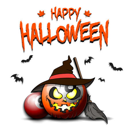 Happy Halloween. Template billiard design. Billiard ball in the form of a pumpkin in witch hat on an isolated background. Pattern for banner, poster, greeting card, invitation. 向量圖像