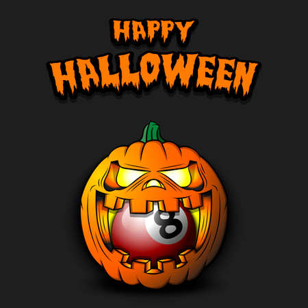 Happy Halloween. Billiard ball inside frightening pumpkin. The pumpkin swallowed the ball with burning eyes. Design template for banner, poster, greeting card, party invitation. Vector illustration 向量圖像