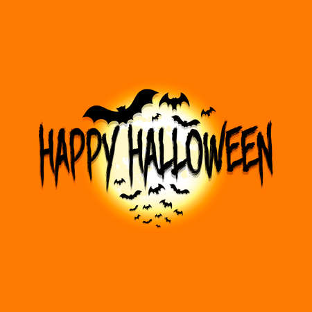 Happy Halloween. Bats on the background of the moon. Design template for banner, poster, greeting card, flyer, party invitation.