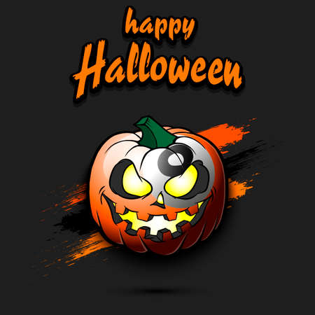 Happy Halloween. Template billiard design. Billiard ball in the form of a pumpkin on an isolated background. Pattern for banner, poster, greeting card, flyer, party invitation.