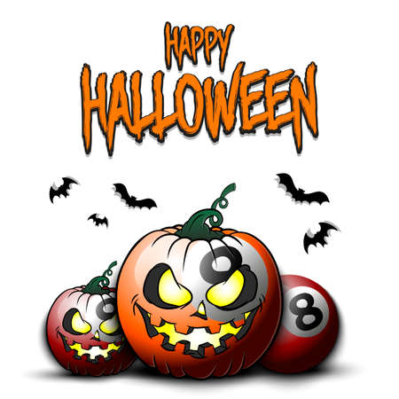 Happy Halloween. Template billiard design. Billiard balls in the form of a pumpkins on an isolated background. Pattern for banner, poster, greeting card, flyer, party invitation. 向量圖像