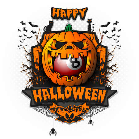Happy Halloween. Billiard ball inside frightening pumpkin. Cats, bats, spiders, trees, crosses. Design template for banner, poster, greeting card, flyer, party invitation.