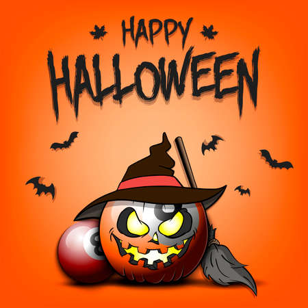 Happy Halloween. Template billiard design. Billiard ball in the form of a pumpkinin in witch hat on an isolated background. Pattern for banner, poster, greeting card, invitation. Vector illustration