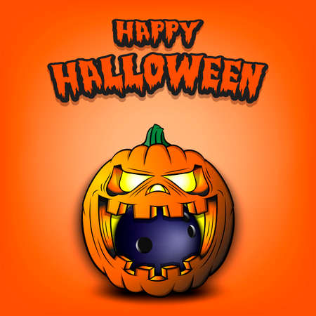 Happy Halloween. Bowling ball inside frightening pumpkin. The pumpkin swallowed the ball with burning eyes. Design template for banner, poster, greeting card, party invitation. Vector illustration
