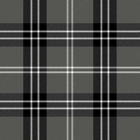 Halloween Tartan plaid. Scottish pattern in black, white and gray cage. Scottish cage. Traditional Scottish checkered background. Seamless fabric texture. Vector illustration