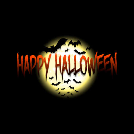 Happy Halloween. Bats on the background of the moon. Design template for banner, poster, greeting card, flyer, party invitation. Çizim
