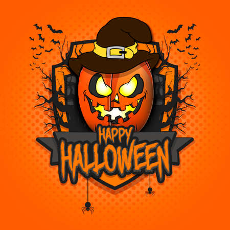 Happy Halloween.  rugby ball in the form of a pumpkinin in witch hat on an isolated background. Design template for banner, poster, greeting card, flyer, party invitation. Vector illustration