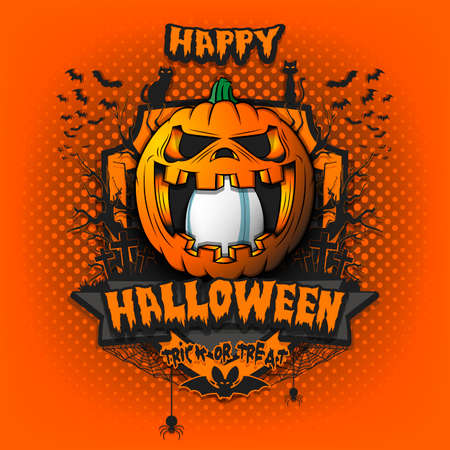 Happy Halloween. Rugby ball inside frightening pumpkin. Cats, bats, spiders, trees, crosses. Design template for banner, poster, greeting card, flyer, party invitation. Vector illustration 向量圖像