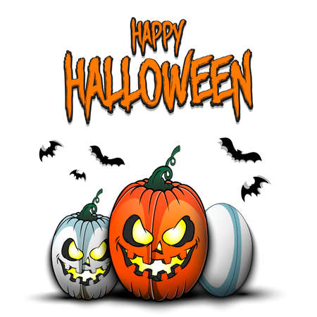Happy Halloween. Template rugby design. Rugby balls in the form of a pumpkins on an isolated background. Pattern for banner, poster, greeting card, flyer, party invitation. Vector illustration 向量圖像