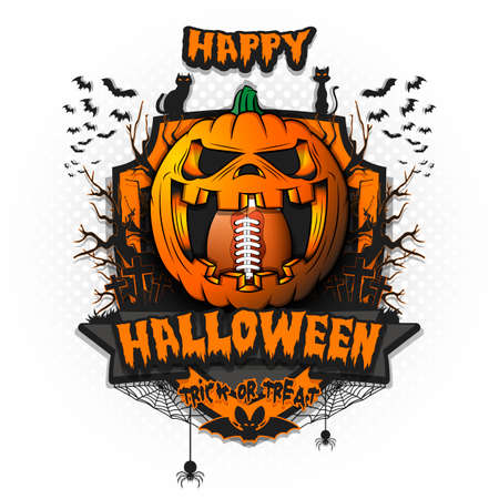 Happy Halloween. Football ball inside frightening pumpkin. Cats, bats, spiders, trees, crosses. Design template for banner, poster, greeting card, flyer, party invitation. Vector illustration