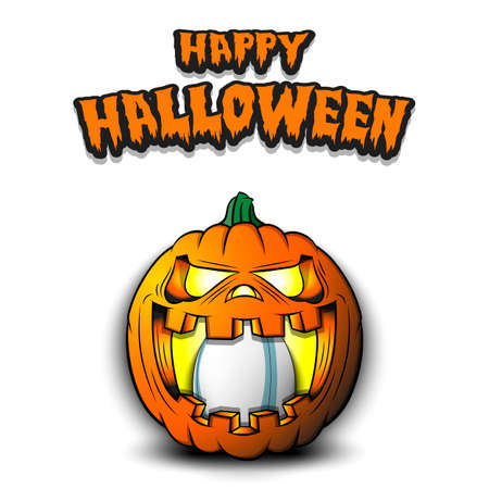 Happy Halloween. Rugby ball inside frightening pumpkin. The pumpkin swallowed the ball with burning eyes. Design template for banner, poster, greeting card, party invitation. Vector illustration