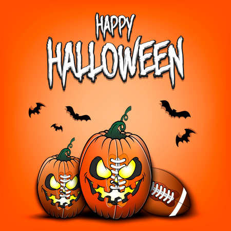 Happy Halloween. Template football design. Football balls in the form of a pumpkins on an isolated background. Pattern for banner, poster, greeting card, flyer, party invitation. Vector illustration