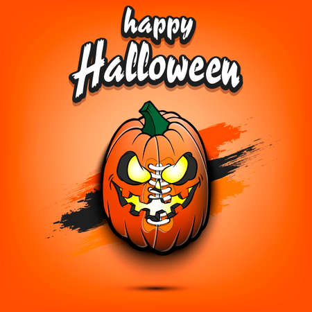 Happy Halloween. Template football design. Football ball in the form of a pumpkin on an isolated background. Pattern for banner, poster, greeting card, flyer, party invitation. Vector illustration 向量圖像