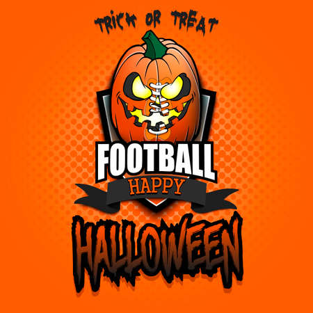 Happy Halloween. Template football design.  football ball in the form of a pumpkin on an isolated background. Pattern for banner, poster, greeting card, party invitation. Vector illustration