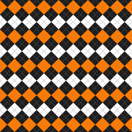 Halloween Argyle plaid. Scottish pattern in orange, black and white rhombuses. Scottish cage. Traditional Scottish background of diamonds. Seamless fabric texture. Vector illustration 向量圖像