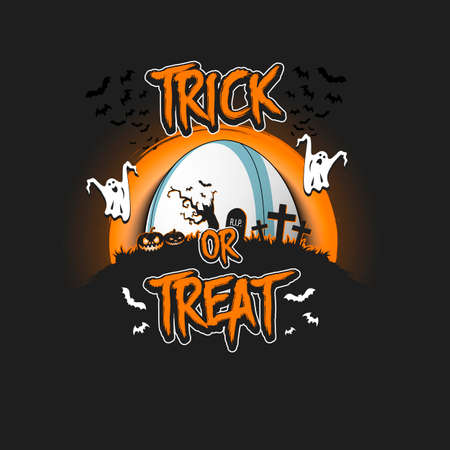 Halloween pattern. Trick or treat. Rugby template design. Rugby ball, pumpkins, spooky tree, crosses, coffin, ghost and bat. Pattern for banner, poster, party invitation. Vector illustration