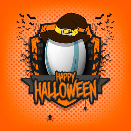 Halloween pattern. Rugby template design. Rugby ball in a hat on a background of spooky trees and bats with a shield. Pattern for banner, poster, party invitation. Vector illustration