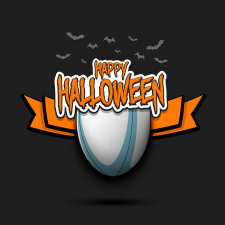 Happy Halloween pattern. Rugby template design. Rugby ball and bat.