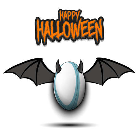 Happy Halloween. Devil rugby ball. Rugby ball with horns and wings. Design pattern for banner, poster, greeting card, flyer, party invitation. Vector illustration 向量圖像