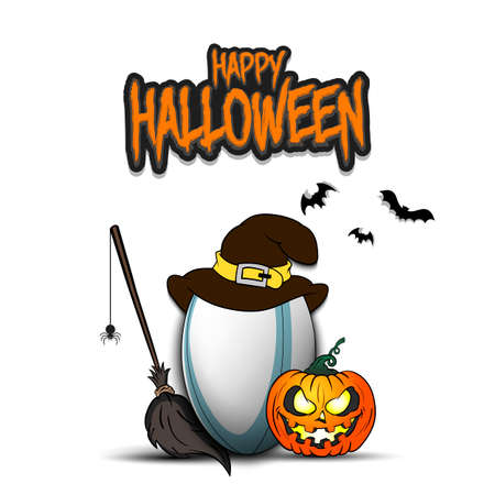 Happy Halloween. Rugby template design. Rugby ball with witch hat, pumpkin, broom, spider and bat.
