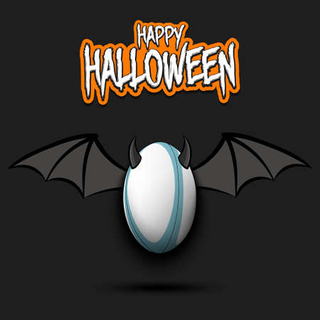 Happy Halloween. Devil rugby ball. Rugby ball with horns and wings.  Vector illustration