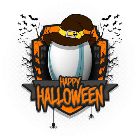 Halloween pattern. Rugby template design. Rugby ball in a hat on a background of spooky trees and bats with a shield. Vector illustration 向量圖像