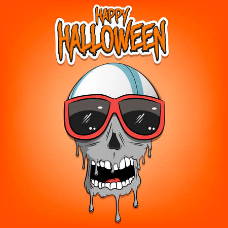 Happy Halloween. Rugby ball with skull in sunglasses with paint. Graffiti illustration of rugby ball with skull on isolated background. Skull art image. Vector illustration