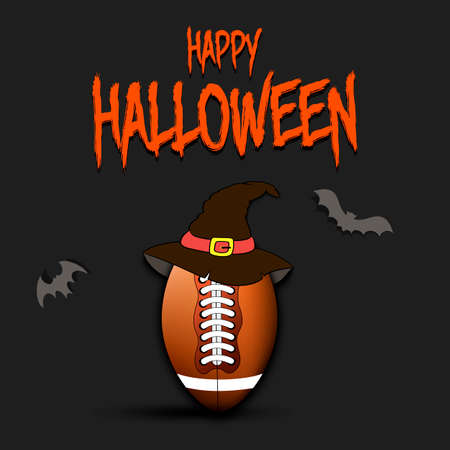Happy Halloween pattern. Football template design. Football ball with witch hat. Design pattern for banner, poster, greeting card, flyer, party invitation. Vector illustration 向量圖像
