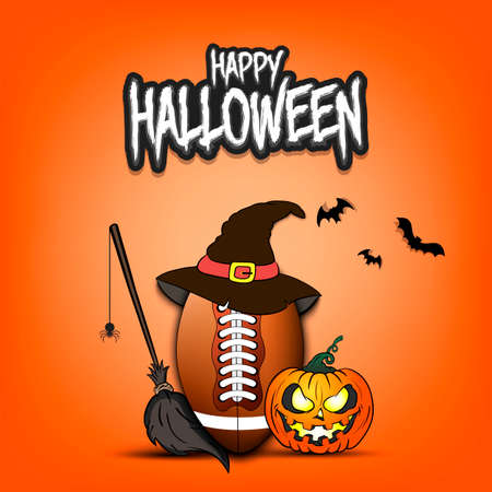 Happy Halloween. Football template design. Football ball with witch hat, pumpkin, broom, spider and bat. Design pattern for banner, poster, greeting card, flyer, party invitation. Vector illustration