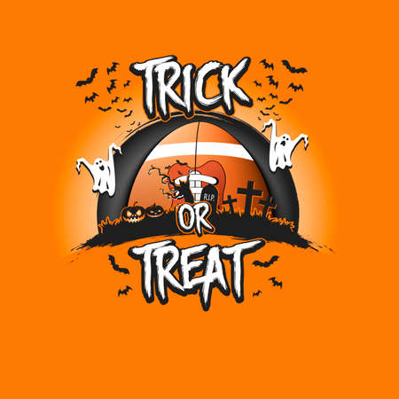 Halloween pattern. Trick or treat. Football template design. Rugby ball, pumpkins, spooky tree, crosses, coffin, ghost and bat. Pattern for banner, poster, party invitation. Vector illustration