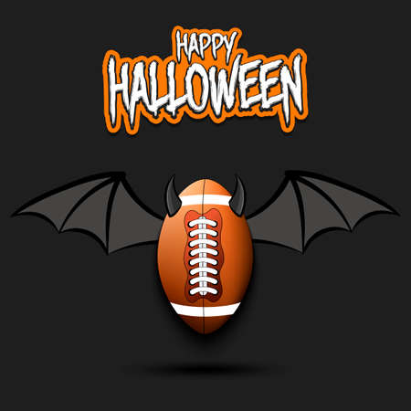 Happy Halloween. Devil rugby ball. Football ball with horns and wings. Design pattern for banner, poster, greeting card, flyer, party invitation. Vector illustration