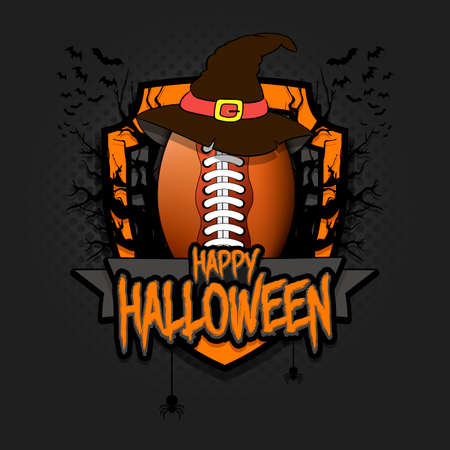 Halloween pattern. Football  template design. Football ball in a hat on a background of spooky trees and bats with a shield. Pattern for banner, poster, party invitation. Vector illustration 向量圖像