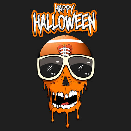 Happy Halloween. Football ball with skull in sunglasses with paint. Graffiti illustration of football ball with skull on isolated background. Skull art image. Vector illustration