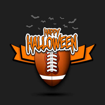 Happy Halloween pattern. Football template design. Football ball and bat. Design pattern for banner, poster, greeting card, flyer, party invitation. Vector illustration
