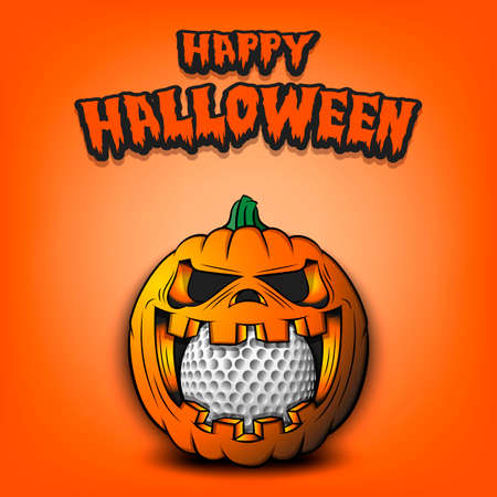 Happy Halloween. Golf ball inside frightening pumpkin. The pumpkin swallowed the ball with burning eyes. Design template for banner, poster, greeting card, party invitation. Vector illustration