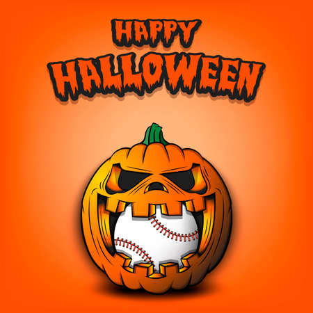 Happy Halloween. Baseball ball inside frightening pumpkin. The pumpkin swallowed the ball with burning eyes. Design template for banner, poster, greeting card, party invitation. Vector illustration