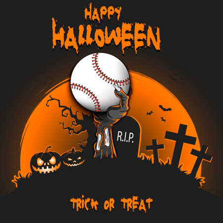 Happy Halloween. Zombie hand from the grave holding a baseball ball. Pumpkins, spooky tree, crosses, coffin and bats. Pattern for banner, poster, party invitation. Vector illustration Ilustracja