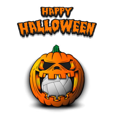 Happy Halloween. Volleyball ball inside frightening pumpkin. The pumpkin swallowed the ball with burning eyes. Design template for banner, poster, greeting card, party invitation. Vector illustration Ilustracja