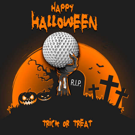 Happy Halloween. Zombie hand from the grave holding a golf ball. Pumpkins, spooky tree, crosses, coffin and bats. Pattern for banner, poster, party invitation. Vector illustration Ilustracja