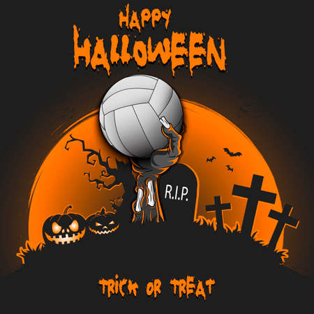Happy Halloween. Zombie hand from the grave holding a volleyball ball. Pumpkins, spooky tree, crosses, coffin and bats. Pattern for banner, poster, party invitation. Vector illustration