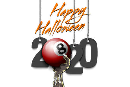 Happy Halloween. Numbers 2020 year hanging on strings and zombie hand is holding a billiard ball. Pattern for banner, poster, greeting card, flyer, party invitation. Vector illustration