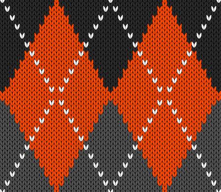 Knitted argyle Halloween pattern. Wool knitinng. Scottish plaid in orange, black and grey rhombuses. Traditional Scottish background of diamonds . Seamless fabric texture. Vector illustration Vektorgrafik