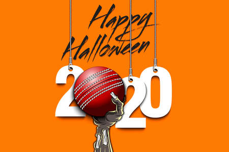 Happy Halloween. Numbers 2020 year hanging on strings and zombie hand is holding a cricket ball. Pattern for banner, poster, greeting card, flyer, party invitation. Vector illustration