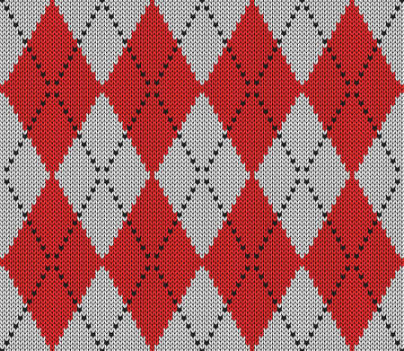 Knitted argyle Christmas and new year pattern. Wool knitinng. Scottish plaid in red and white rhombuses. Traditional background of diamonds. Seamless fabric texture. Vector illustration
