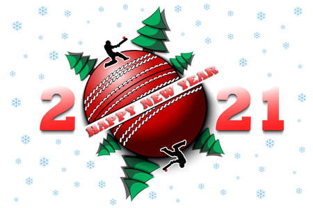 Happy new year 2021 and cricket ball with Christmas trees on an isolated background. Cricket player hits the ball. Design pattern for greeting card. Vector illustration