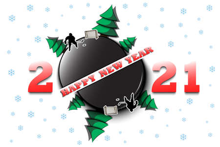 Happy new year 2021 and hockey puck with Christmas trees on an isolated background. Hockey player scores a goal. Design pattern for greeting card. Vector illustration Vektoros illusztráció