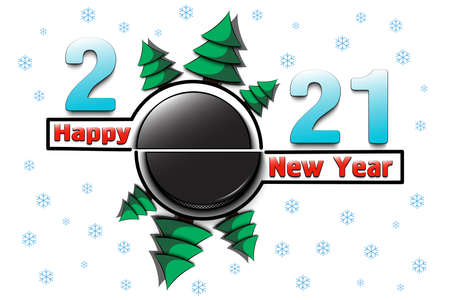 Happy new year 2021 and hockey puck with Christmas trees on an snowflakes background. Creative design pattern for greeting card, banner, poster, flyer, party invitation, calendar. Vector illustration