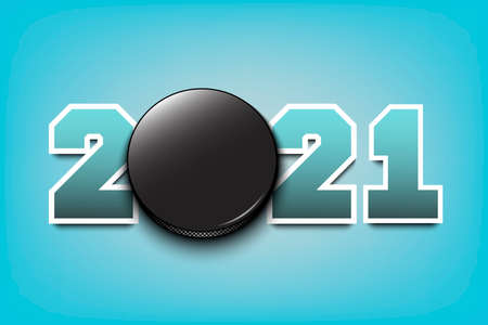 New Year numbers 2021 and hockey puck on an isolated background. Creative design pattern for greeting card, banner, poster, flyer, party invitation, calendar. Vector illustration