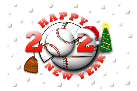 Happy new year 2021 and baseball ball with with Christmas hat, glove and bat. Creative design pattern for greeting card, banner, poster, flyer, party invitation, calendar. Vector illustration