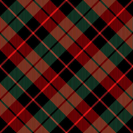 Diagonal tartan Christmas and new year plaid. Scottish pattern in red, green and black cage. Scottish cage. Traditional Scottish checkered background. Seamless fabric texture. Vector illustration Ilustracja